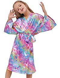 Beinou Night Robe for Girls Soft Kimono Bathrobe Satin Toddler Unicorn Robe Rainbow