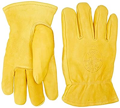 Klein Tools 40017 Deerskin Work Gloves, Lined,Yellow,Large