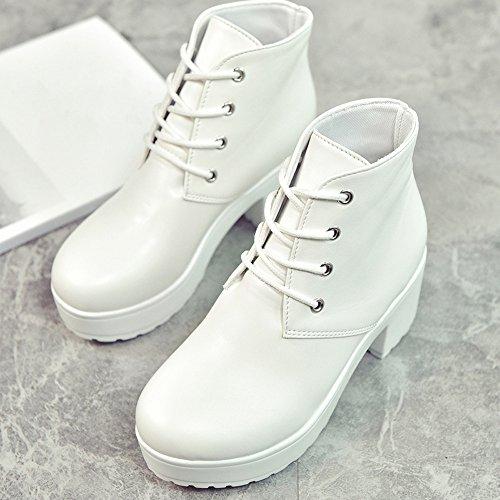 Bottes Veau Lolittas quitation Dsert Cheville Plateforme Pointe Militaire Cuir Tactiques Chaussures Femmes Plate Acier Lacets Semelles D'hiver Blanc En pq7wq45