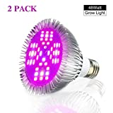 2 PACK LED Grow Lights Bulb, Pathonor E27 48W LED Full Spectrum High Efficient Hydroponic Plant Grow Lights for Garden Greenhouse, Grow Tent Bulb and Hydroponic Aquatic