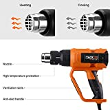 Tacklife HGP73AC Heat gun Precision control Variable Temperature 1600W 122℉~1112℉ (50℃~600℃) with Four Nozzle Attachments for Removing Paint, Bending Pipes, Shrinking PVC, Lighting BBQ