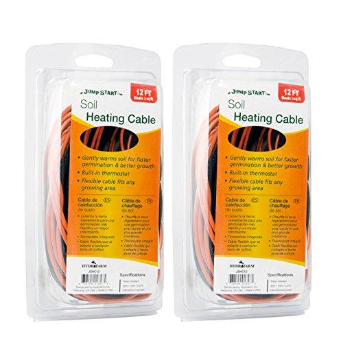 Hydrofarm (2) Jump Start Soil 12 Foot Heating Cables w/Thermostat   JSHC12