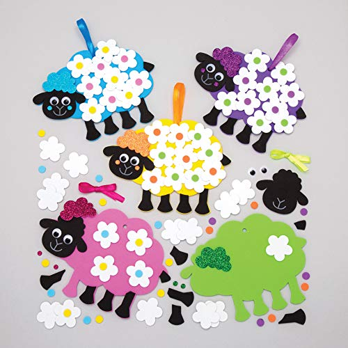 Baker Ross Fluffy Sheep Flower Kits (Pack of 5) Spring Themed Crafts for Kids to Make and Gift -