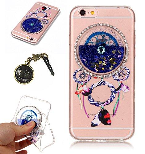 iPhone 7 (4.7 Zoll) Hülle, Kreativ Design 3D Transparent Soft Silikon Hülle Case Dynamisch Heart-shaped Treibsand Liquid Fließen Flüssig Schwimmend Tasche Handyhülle Glitter Glitzer Sparkle Hart TPU B 5