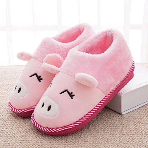 Cotone fankou pantofole femmina pacchetto completo con inverno caldo di spessore non-slip piscina home stay Cartoon carino pantofole uomini e ,290# (42-43), la rosa