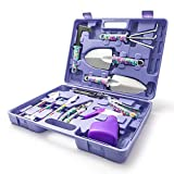 Garden Tools Set, 10Pcs Gardening Tools with Purple Floral Print for Planting Weeding, Garden Hand Tools with Carrying Case