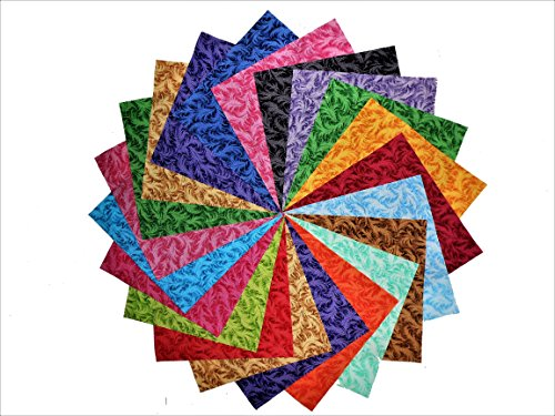 - 68 5 Inch Beautiful Majestic Quilt Fabric Squares