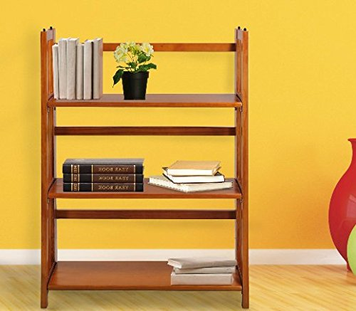 Folding Bookcase, Bookcases And Book Shelves,3 Tier Stackable - Ey Oak