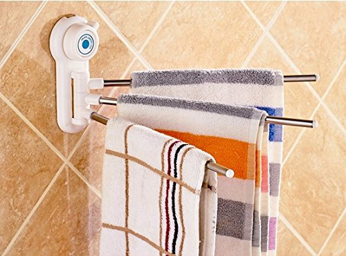 Magic Ring 180-Degree Free Rotation Stainless Steel Towel Bar Three-arm Towel Rack, White