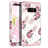 Lontect Compatible Galaxy Note 8 Case Floral 3 in 1 Heavy Duty Hybrid Sturdy Armor High Impact Shockproof Protective Cover Case for Samsung Galaxy Note 8, Pineapple/Rose Gold