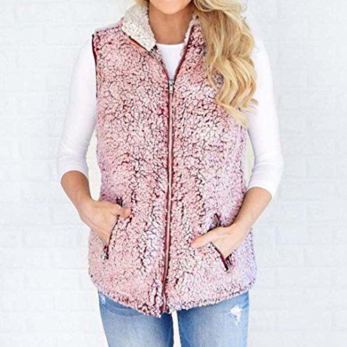 Chaleco de piel caliente Outwear mujer Rosado informal Internet cremallera sintética con Sherpa Invierno Chaqueta para Escudo abrigo qw7pPUE