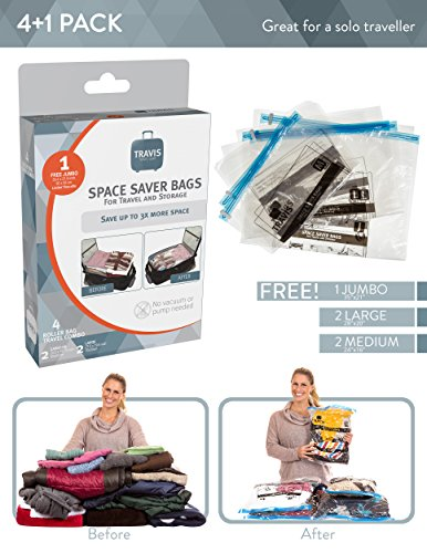 Travis Travel Gear Space Saver Bags. No Vacuum Rolling Compression, Pack of 2 Medium