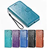 iPhone 8 Plus Case, iPhone 7 Plus Case, HLCT PU Leather Case, With Soft TPU Protective Bumper, Built-In Stand Kickstand, Cash And Card Pockets (Teal)