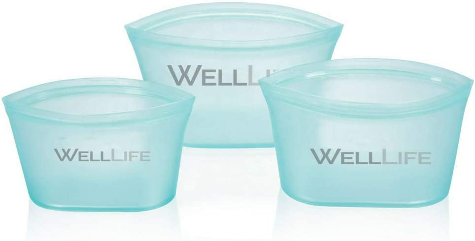 Well Life Reusable Silicone Food Storage Bags, Zip Top Snack Lunch Eco-Friendly Freezer Microwave Dishwasher Safe, Leak Free, Three Sizes Colors Sandwich & Snack - US Based (Blue)