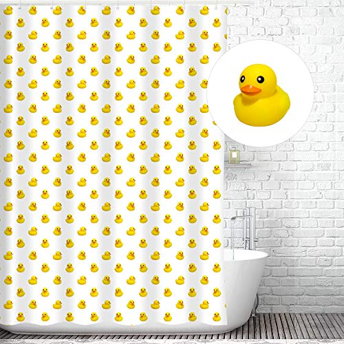 Traveling Twins Rubber Duck Shower Curtain Liner (100% Polyester Fabric, Waterproof and Mildew Resistant + Weighted Bottom) - 72 x 70 -