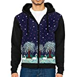 Q-oqo Men Swan Lake Border Midnight Funny Fashion Sweatshirt With Hat and Pockets