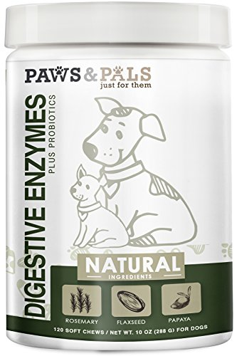 Paws & Pals Dog Digestive Enzymes Plus Probiotics Soft Chew Vitamins with Rosemary, Flax Seed, Papaya - 120 Count