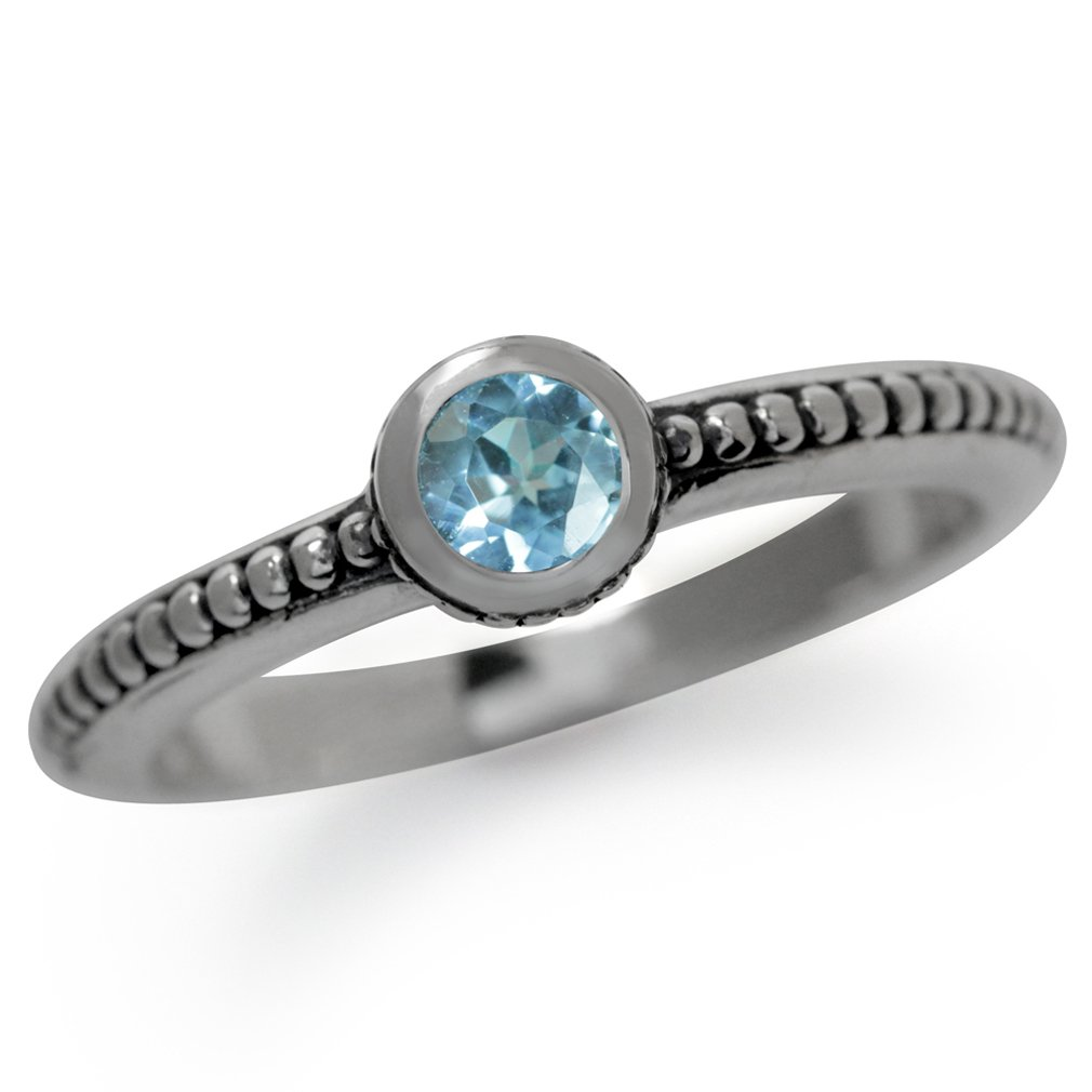 Genuine Blue Topaz 925 Sterling Silver Stack/Stackable Bali/Balinese Style Ring Size 6.5