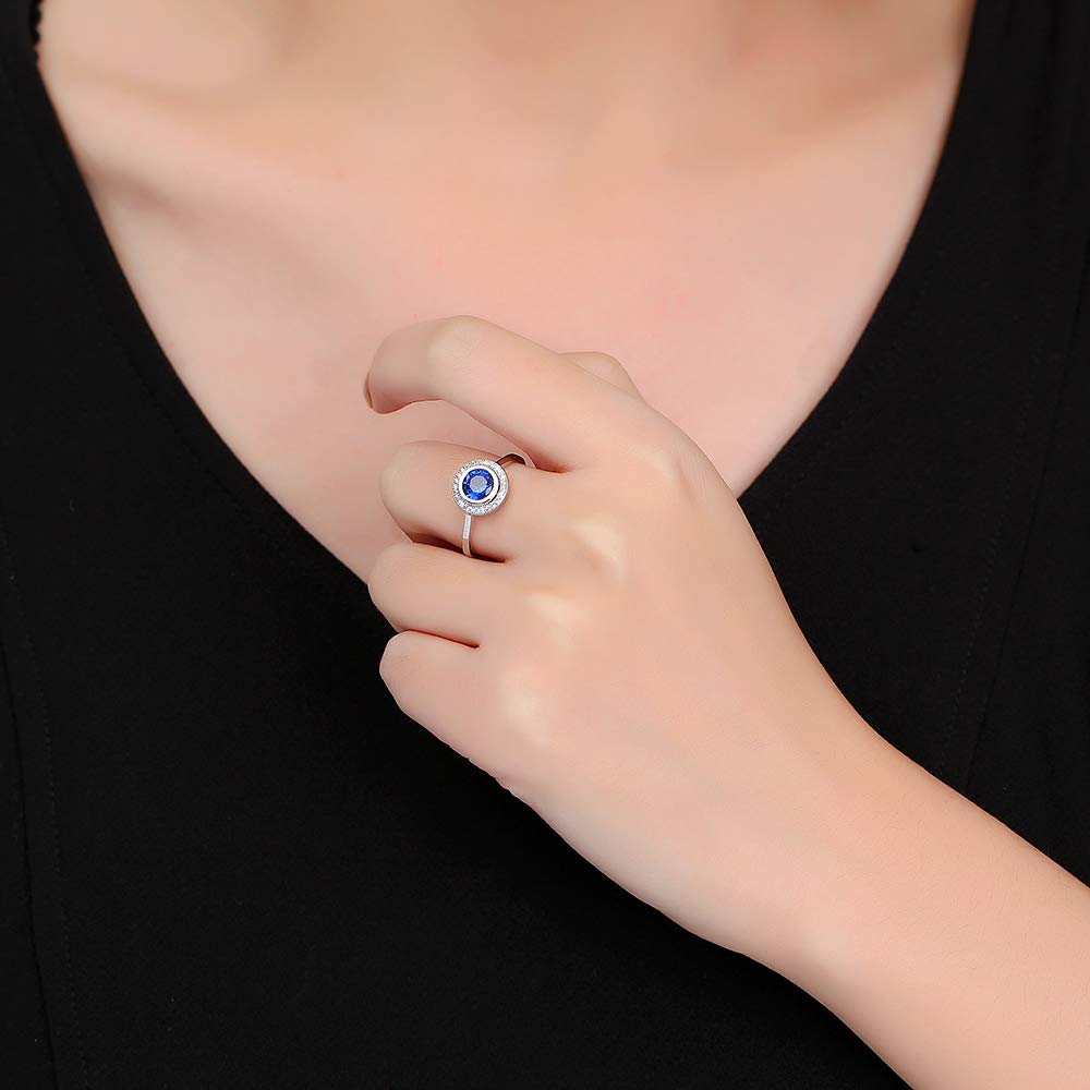 dnswez Bezel Setting Austrian Crystals Rings for Women Wedding Bridal Jewelry Classic Trendy Design Ring Size: 10