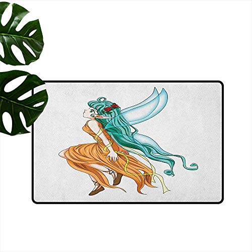 LilyDecorH Anime,Door mat Pixie Girl Caricature with a Long Green Hair and Wings Fantasy Elf 36