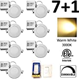 7 + DIMMER Pack QPLUS 4 inch Dimmable LED Recessed Lighting Downlight Retrofit 10W (=75W) Warm White 3000K Ultra Slim 750 Lumens Energy Star cETLus Thin Potlight 5 Years Warranty