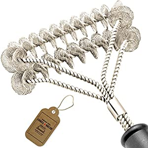 """Grill Brush Bristle Free - Safe and Rust Proof BBQ Grill Cleaning Brush - 18"""" Stainless Steel Grill Cleaner - Best for Propane, Electric, Infrared, Ceramic, Iron, Gas & Porcelain Grates"""