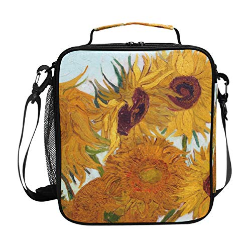 JSTEL Lunch Bag Van Gogh Sunflower Handbag lunchbox Food Container Gourmet Bento Coole Tote Cooler warm Pouch For Travel Picnic School Office