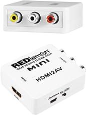 REDLEMON Adaptador y Convertidor HDMI a RCA 1080P, Digital a Análogo, para Audio y Video. Compatible con Consolas de Videojuegos PS4, Xbox, DVD, Blue Ray, TV Box, PC y Sistemas de Televisión de Paga (Decodificador), con Cable de Corriente