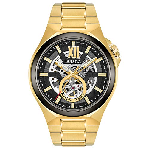 Bulova Men's Automatic-self-Wind Watch with Stainless-Steel Strap, Gold, 27 (Model: 98A178)