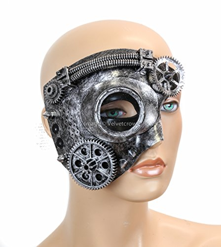 Steampunk Goggles Gear Tube Phantom Half Mask Halloween Costume Party (Silver) (Goth Halloween Costumes For Kids)