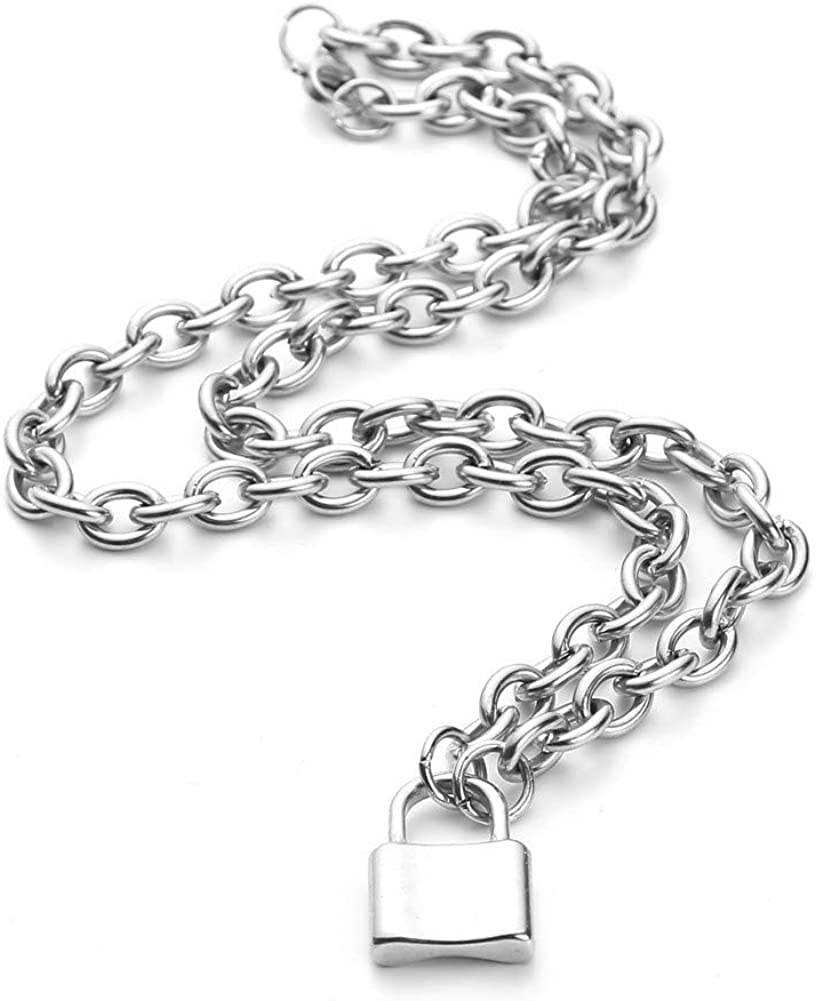 Molike Stainless Steel Simple Personality Punk Love Lock Pendant Necklace for Men Women, Fashion Jewelry Gift