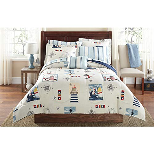 Nautical Sailboat Themed (LO 8 Piece White Blue Maritime Lighthouse Comforter Queen Set, Nautical Sailing Bedding Sailboats Stripes Compass Ships Stars Light House Themed Sealife Navy Red Sea Inspired, Polyester Microfiber)