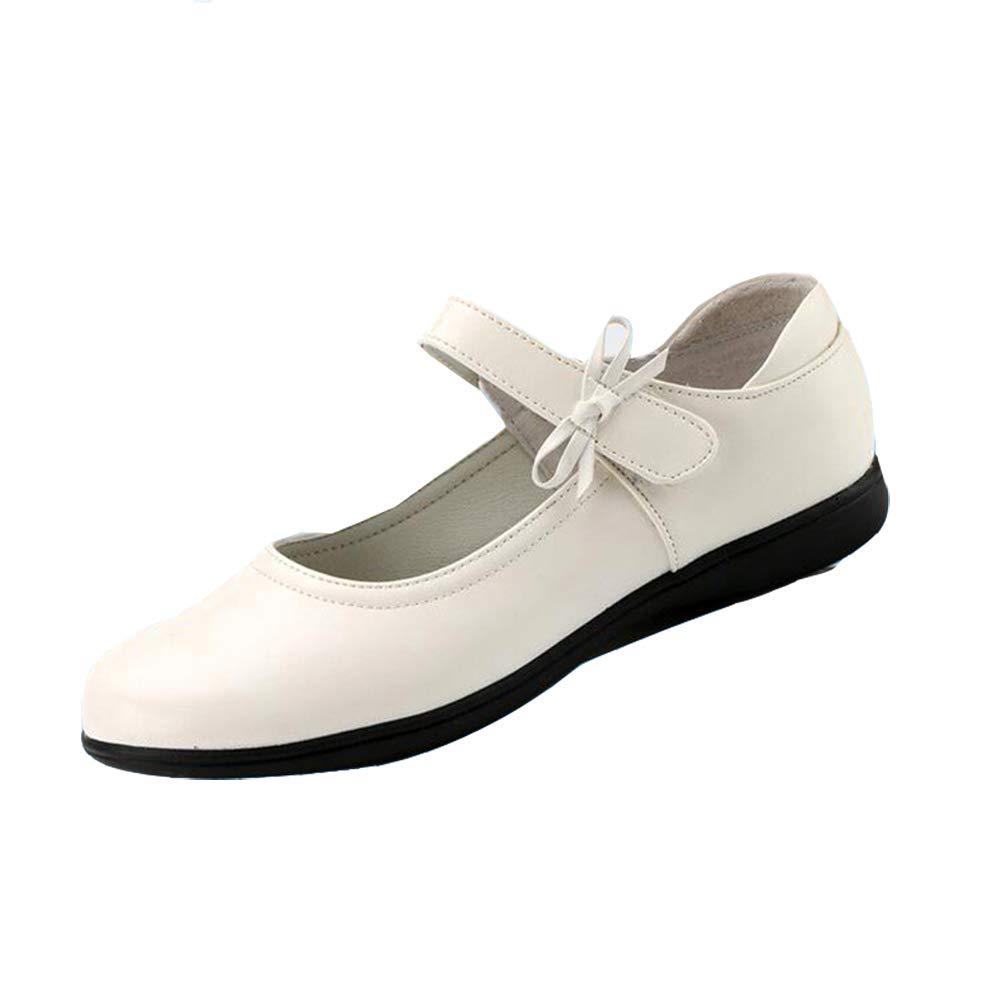 Chiximaxu Girls Uniform Mary Jane White School Flat Shoes(Toddler/Little Kid/Big Kid) CB-1765