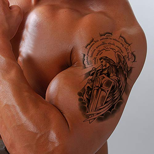 Temporary Tattoo for Guys for Men (7 Sheets) Extra Fake Temporary Tattoo Black tattoo Body Stickers Arm Shoulder Chest angels, angel wings, -