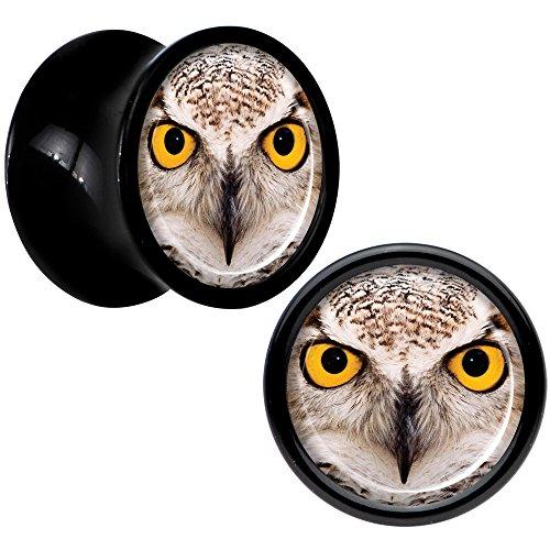 Body Candy Black Acrylic Full Color Owl Saddle Plug Set 0 (Candy Saddle)
