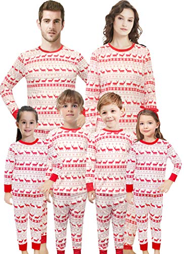 IF Family Boys and Girls Christmas Pajamas Set Children Deer Sleepwear Toddler Cotton Pants Set Size 12 ()