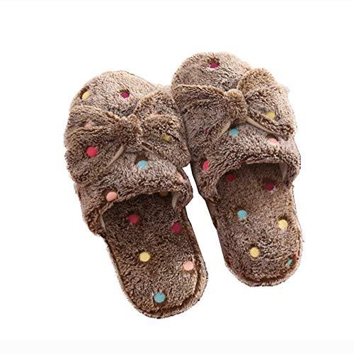 Shoes Brown Slippers Fashion Toe Scuff Home Bow Dot Plush Women Closed qPFgfzwx