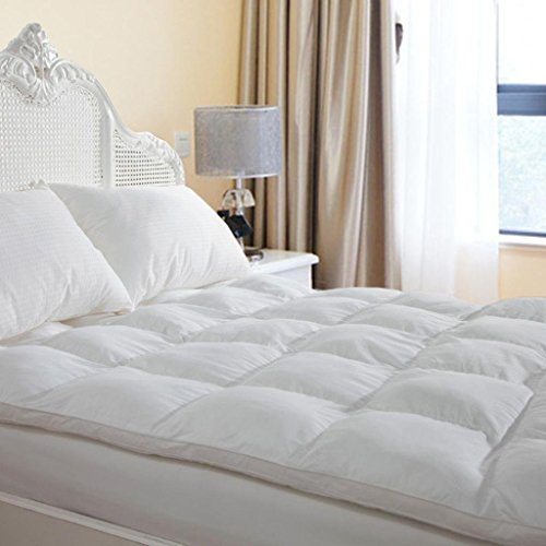 D & G THE DUCK AND GOOSE CO Plush Durable Premium Hotel Quality Mattress Topper, Hypoallergenic Overfilled Down Alternative Fiber with 10-Year Warranty, King Size 2″ H