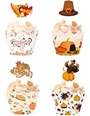 Flunyina Thanksgiving Cake Topper and Cupcake Wrapper Set Thanksgiving Turkey Pumpkin Give Thanks Cartoon Pattern Cupcake Liners Baking Cup Muffin Case Trays for Thanksgiving Fall Party Thanksgiving Feast Autumn Theme Brithday Wedding Cupcake Chocolate Pudding Baking Supplies Decoration (THX 2)
