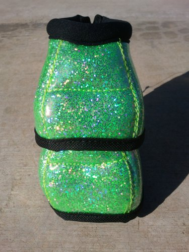 PROFESSIONALS CHOICE EQUINE SECURE FIT HOOF OVERREACH BELL BOOTS - GLITTER - ALL COLORS & SIZES (Lime Green Glitter, Medium) (Overreach Bell Boot)