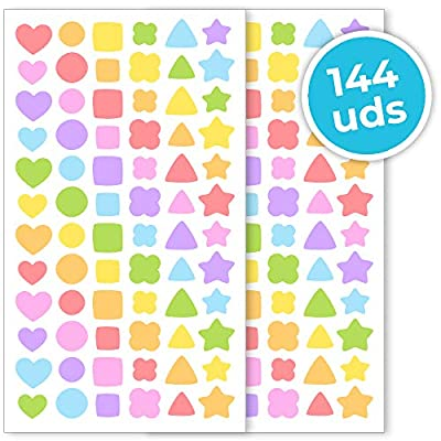 Haberdashery Online Stickers for Children | Pack of 144 Self-Adhesive Shapes and Colors 15 mm / 0.5 in | Crafts and Decoration for Kids: Toys & Games