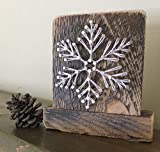 Sweet and small free standing wooden''snowy'' snowflake string art decor. Perfect for holiday home accents, ski cabins and snowflake gifts for winter enthusiasts.