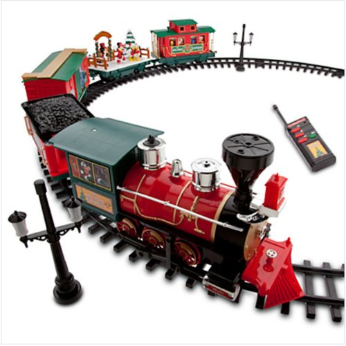 amazoncom disney park 30 piece christmas train set with mickey goofy duffy chip and dale toys games - Train For Around Christmas Tree