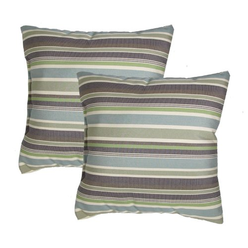 Made in USA Sunbrella Brannon Whisper Outdoor 17X17 Throw Accent Pillow [2 Pack]