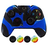 Hikfly Super Thicker Rubber Oil Silicone Controller Cover with 4pcs Thumb Grips Caps Kits for Xbox One Controller (Blue Camouflage)