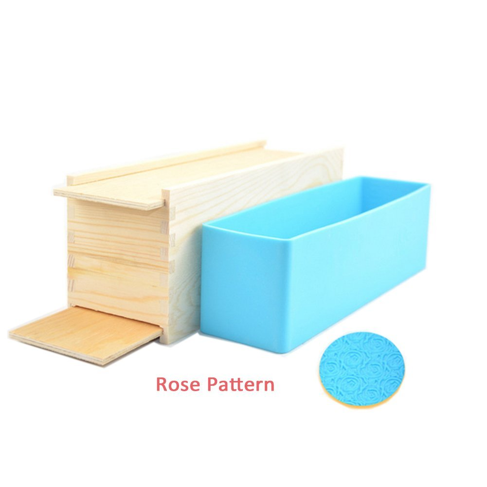 Peicees 1pcs Silicone Loaf Soap Making Molds with Rose Pattern + Wood Box with Double Cover for Homemade Soap Loaf Crafts