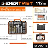 "ENERTWIST Drill Bit Set, 112-Pieces 1/4"" Hex Shank"