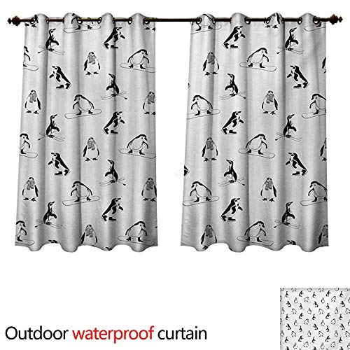 WilliamsDecor Kids Outdoor Ultraviolet Protective Curtains Skiing Penguins on Snowboards Winter Sports Themed Pattern Fun Animal Bird with Scarf W63 x L63(160cm x 160cm)