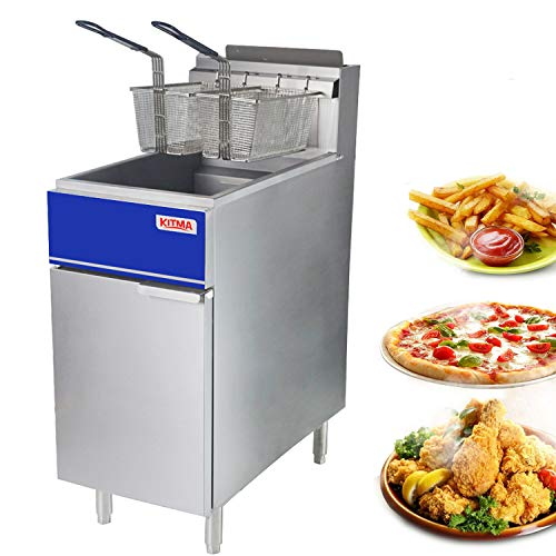 Price comparison product image Commercial Deep Fryer - KITMA 40 lb. Natural Gas 3 Tube Floor Fryer with 2 Fryer Baskets - Restaurant Kitchen Equipment for French Fries,  102, 000 BTU / h