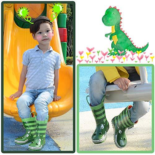 KushyShoo Kids Girl Rain Boots with Easy-On Handles, Rubber Rainboots for Girls (Toddler/Little Kids/Big Kids)